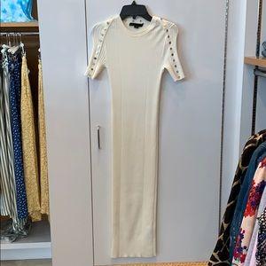 Alexander wang cream ribbed dress. Size XS.